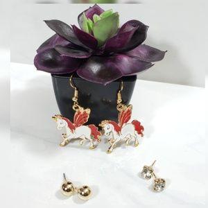 Jewelry - Red Winged Pegasus Unicorn 3 Set Earings